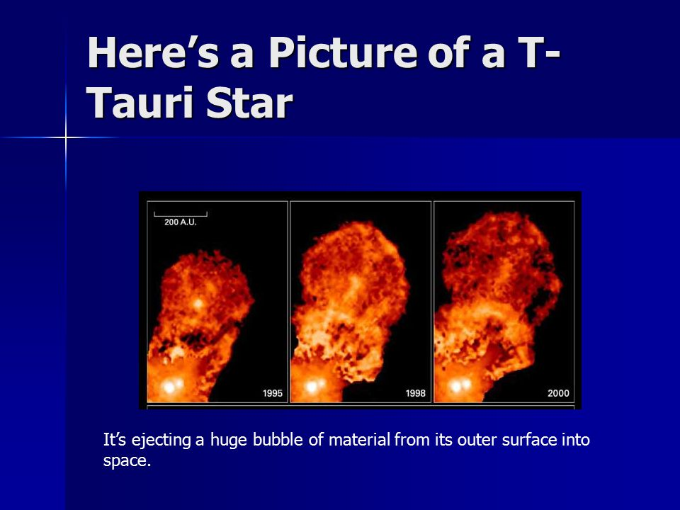 Here's a Picture of a T- Tauri Star It's ejecting a huge bubble of material from its outer surface into space.