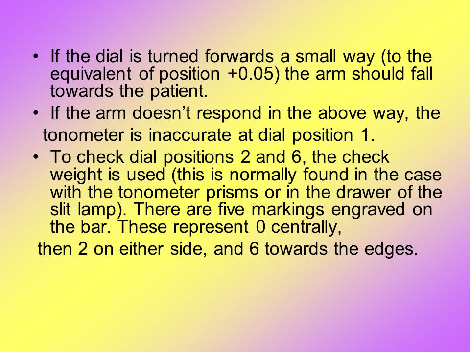 If the dial is turned forwards a small way (to the equivalent of position +0.05) the arm should fall towards the patient. If the arm doesn't respond i