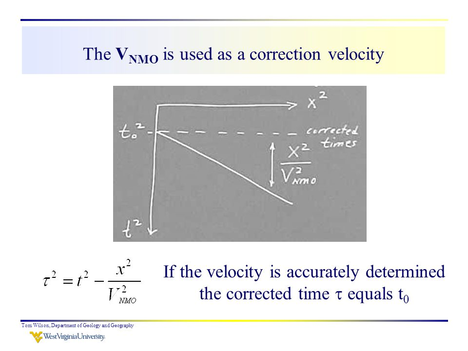 Tom Wilson, Department of Geology and Geography The V NMO is used as a correction velocity If the velocity is accurately determined the corrected time  equals t 0