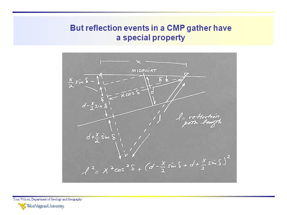 Tom Wilson, Department of Geology and Geography But reflection events in a CMP gather have a special property