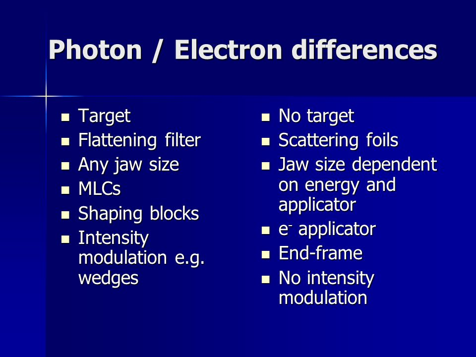 Photon / Electron differences Target Target Flattening filter Flattening filter Any jaw size Any jaw size MLCs MLCs Shaping blocks Shaping blocks Intensity modulation e.g.