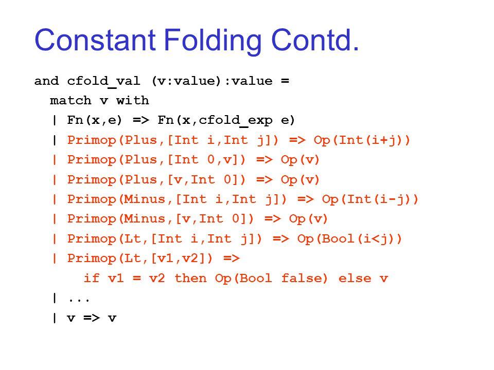 Constant Folding Contd.