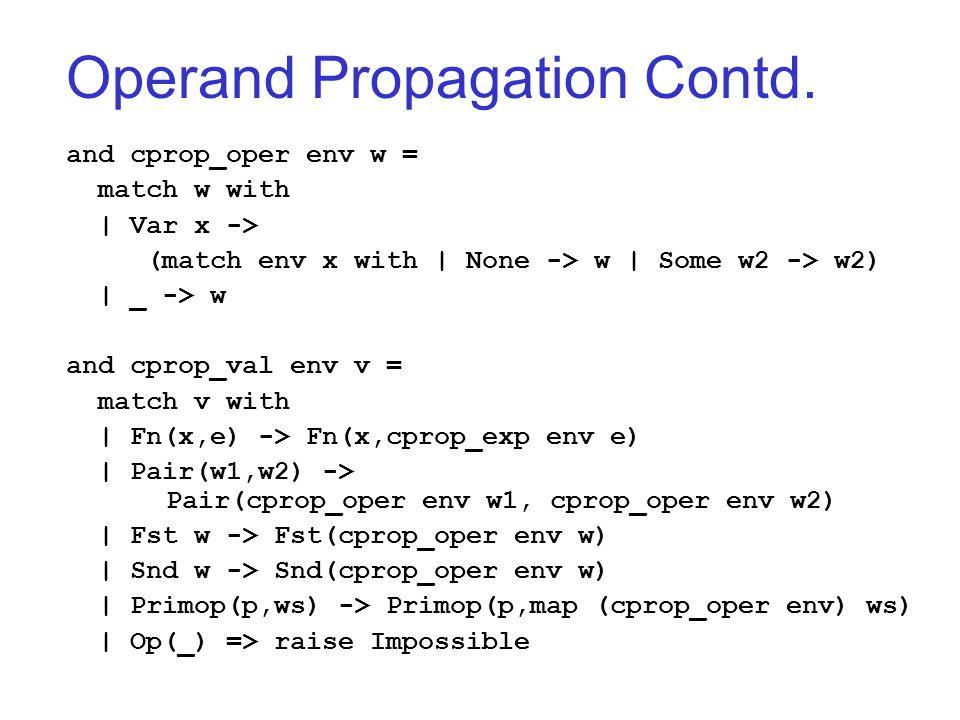 Operand Propagation Contd.