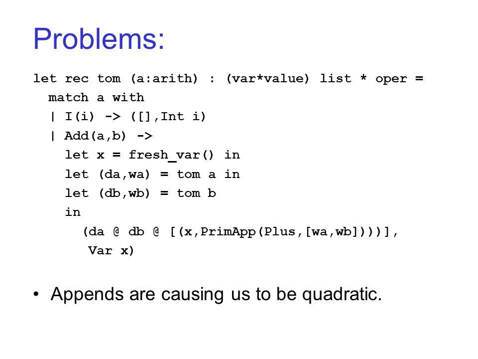 Problems: let rec tom (a:arith) : (var*value) list * oper = match a with   I(i) -> ([],Int i)   Add(a,b) -> let x = fresh_var() in let (da,wa) = tom a
