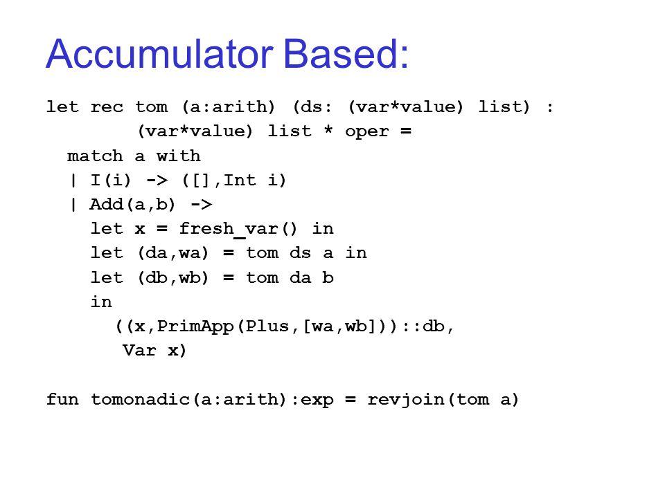 Accumulator Based: let rec tom (a:arith) (ds: (var*value) list) : (var*value) list * oper = match a with | I(i) -> ([],Int i) | Add(a,b) -> let x = fresh_var() in let (da,wa) = tom ds a in let (db,wb) = tom da b in ((x,PrimApp(Plus,[wa,wb]))::db, Var x) fun tomonadic(a:arith):exp = revjoin(tom a)