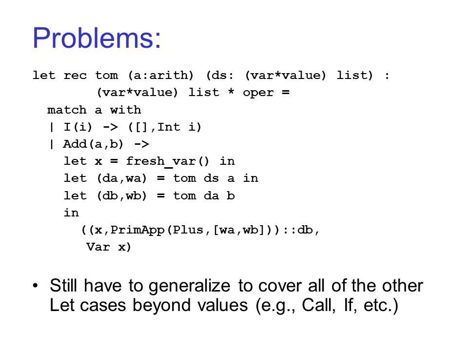 Problems: let rec tom (a:arith) (ds: (var*value) list) : (var*value) list * oper = match a with   I(i) -> ([],Int i)   Add(a,b) -> let x = fresh_var()