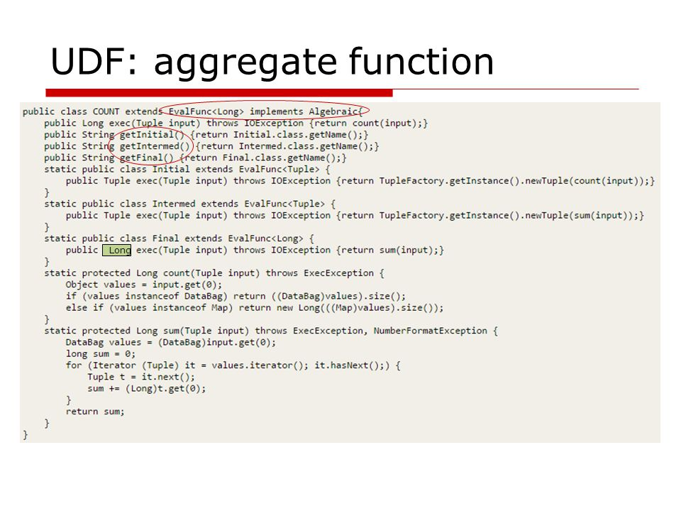 UDF: aggregate function Long