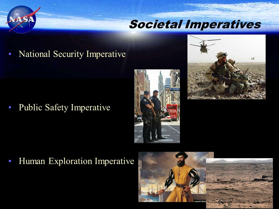 Societal Imperatives National Security Imperative Public Safety Imperative Human Exploration Imperative