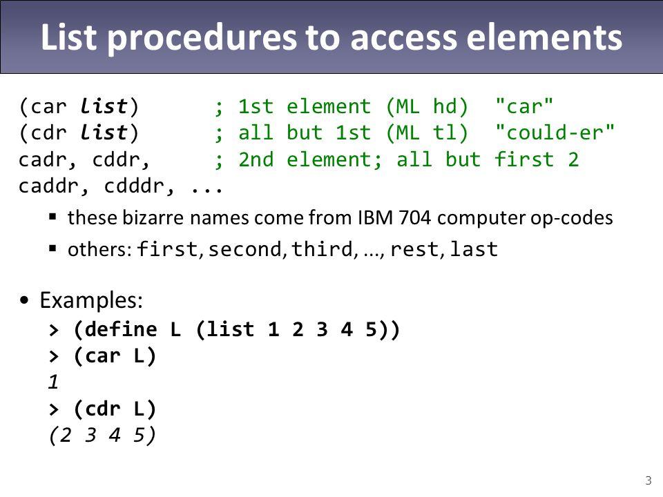 4 More list procedures (cons expr list); expr :: list (append list1 list2...