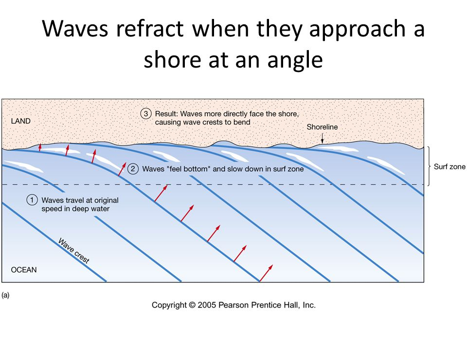 Waves refract when they approach a shore at an angle