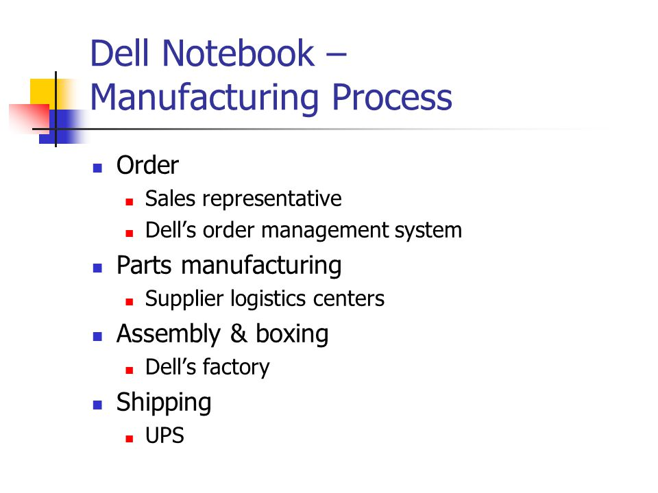 Dell Notebook – Manufacturing Process Order Sales representative Dell's order management system Parts manufacturing Supplier logistics centers Assembly & boxing Dell's factory Shipping UPS
