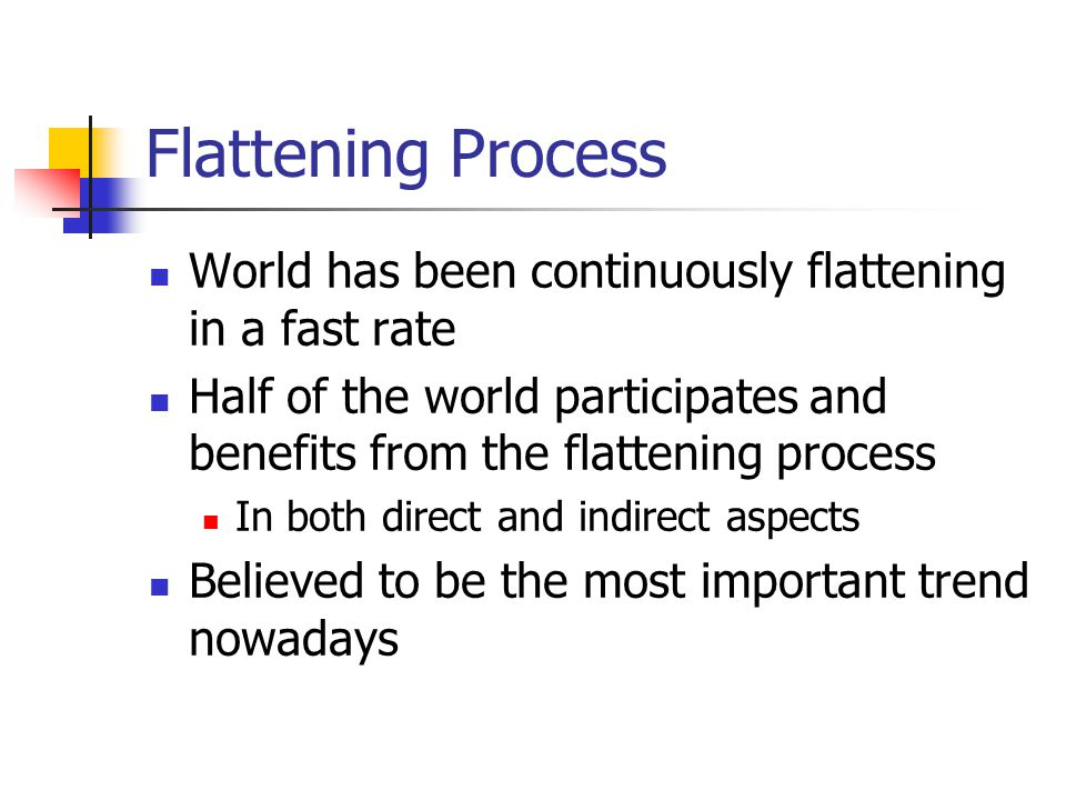Flattening Process Lots of people are left behind in the flattening process like War Economic disruption Politics Problems and forces that prohibit the process.