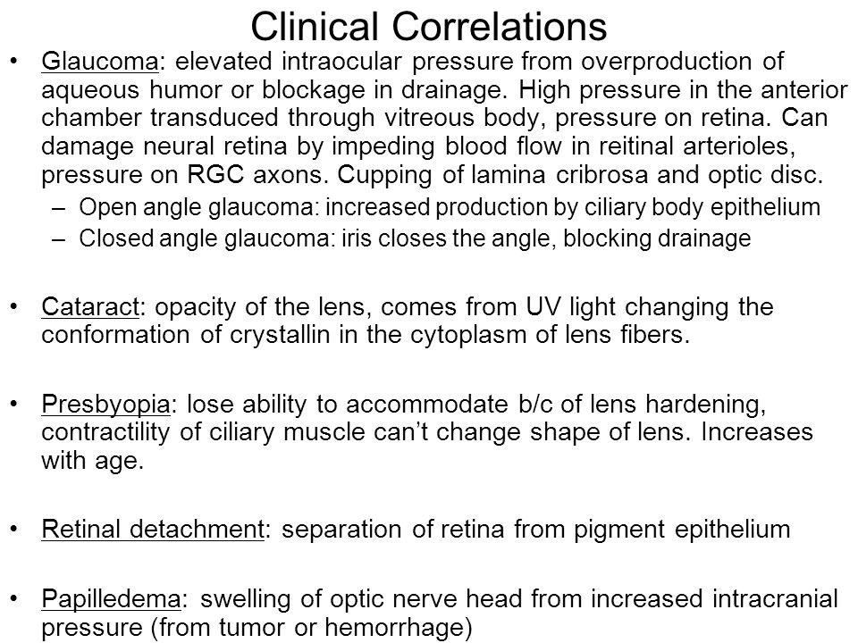 Clinical Correlations Glaucoma: elevated intraocular pressure from overproduction of aqueous humor or blockage in drainage.