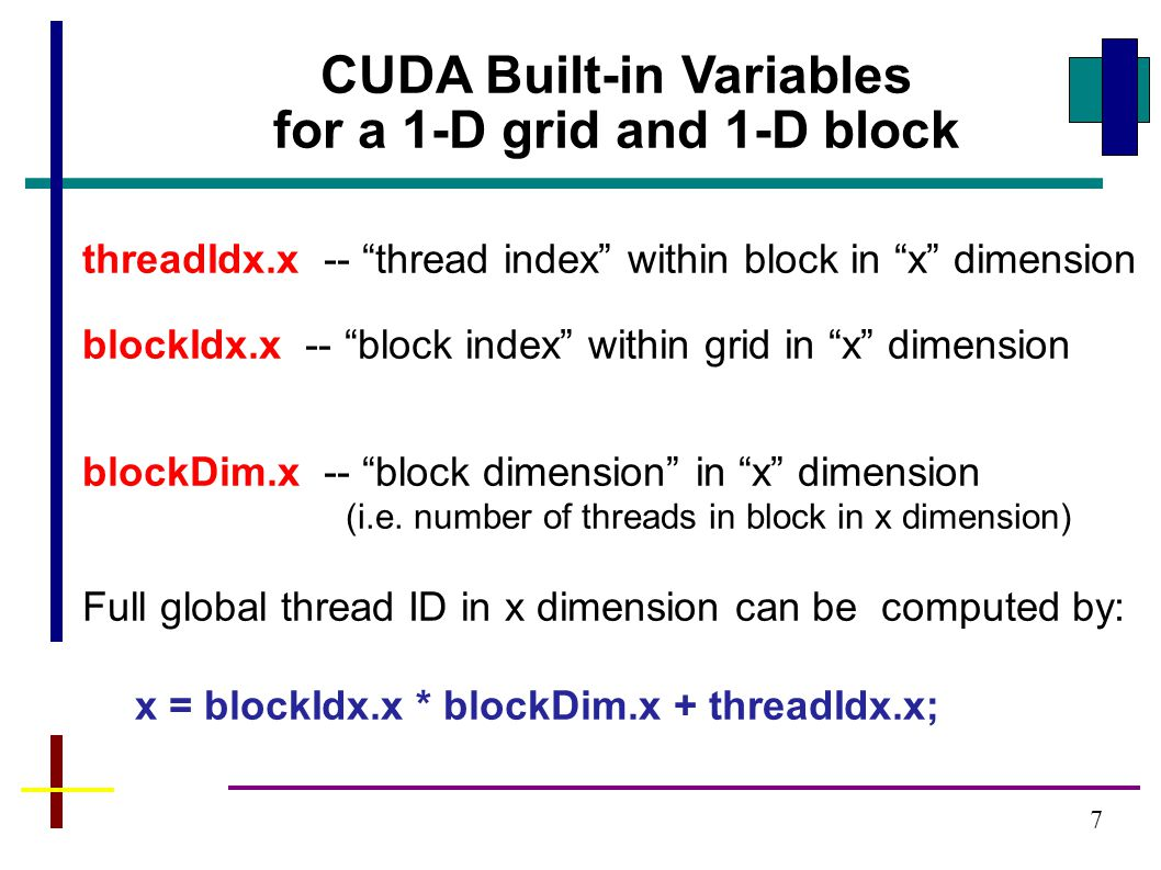 7 CUDA Built-in Variables for a 1-D grid and 1-D block threadIdx.x -- thread index within block in x dimension blockIdx.x -- block index within grid in x dimension blockDim.x -- block dimension in x dimension (i.e.