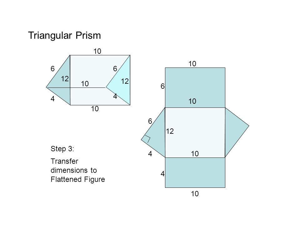 Triangular Prism 8 6 10 8 6 15 8 6 10 Find the area for each rectangle and triangle Step 4: 8 6 Step 5: Write the area inside the specific shape A = 8 x 15 A = 10 x 15 A = 6 x 15 120 150 90 A = 6 x 8 2 24