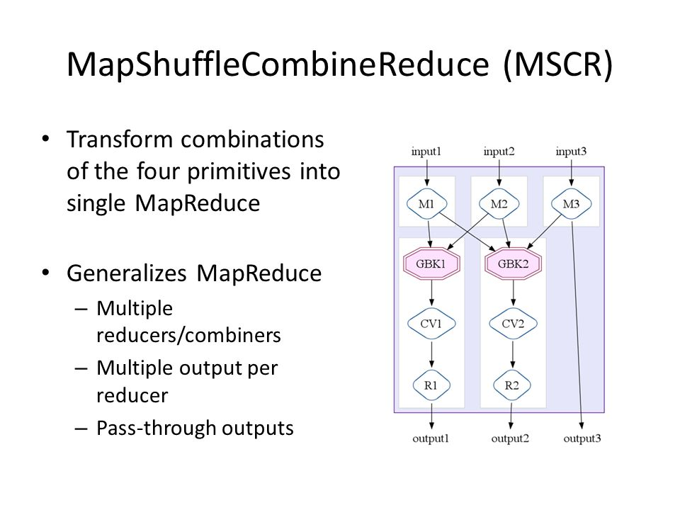 MapShuffleCombineReduce (MSCR) Transform combinations of the four primitives into single MapReduce Generalizes MapReduce – Multiple reducers/combiners – Multiple output per reducer – Pass-through outputs