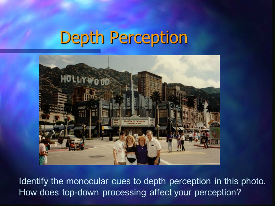 Depth Perception Identify the monocular cues to depth perception in this photo.