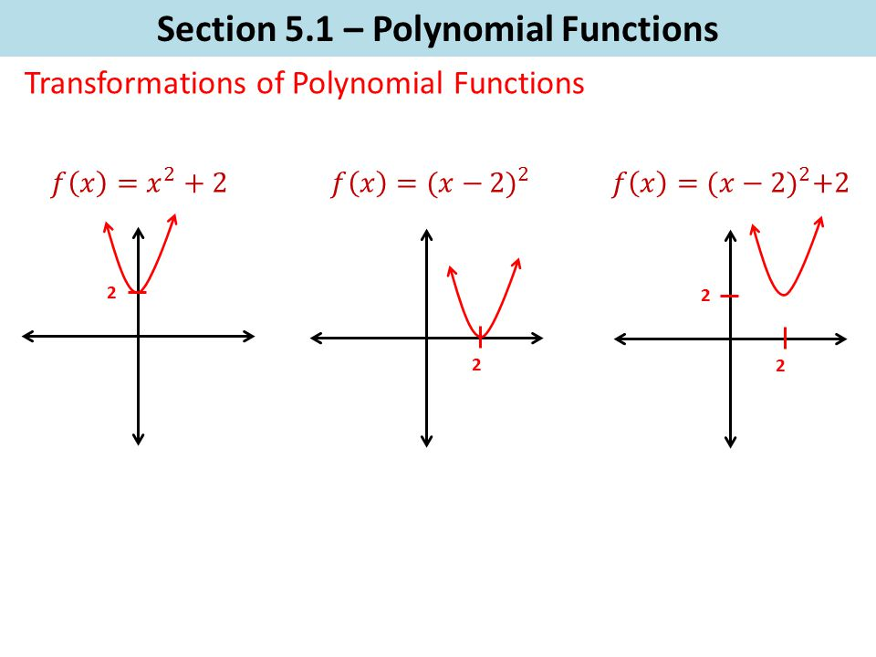Section 5.1 – Polynomial Functions Transformations of Polynomial Functions 2 2 2 2