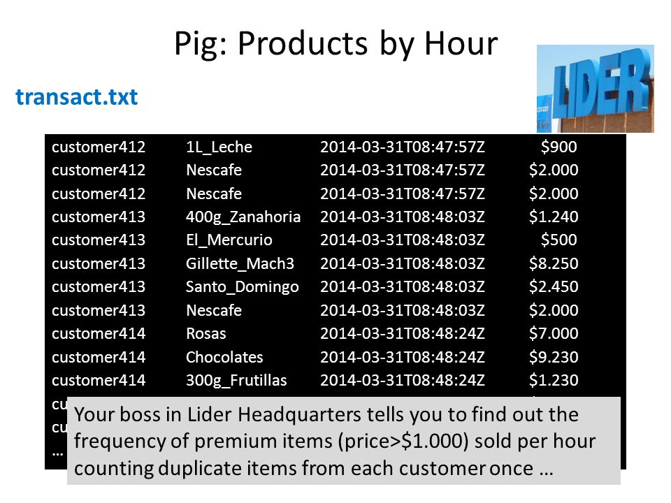 Pig: Products by Hour customer4121L_Leche2014-03-31T08:47:57Z $900 customer412Nescafe2014-03-31T08:47:57Z $2.000 customer413400g_Zanahoria2014-03-31T08:48:03Z $1.240 customer413El_Mercurio2014-03-31T08:48:03Z $500 customer413Gillette_Mach32014-03-31T08:48:03Z $8.250 customer413Santo_Domingo2014-03-31T08:48:03Z $2.450 customer413Nescafe2014-03-31T08:48:03Z $2.000 customer414Rosas2014-03-31T08:48:24Z $7.000 customer414Chocolates2014-03-31T08:48:24Z $9.230 customer414300g_Frutillas2014-03-31T08:48:24Z $1.230 customer415Nescafe2014-03-31T08:48:35Z $2.000 customer41512 Huevos2014-03-31T08:48:35Z $2.200 … transact.txt Your boss in Lider Headquarters tells you to find out the frequency of premium items (price>$1.000) sold per hour counting duplicate items from each customer once …