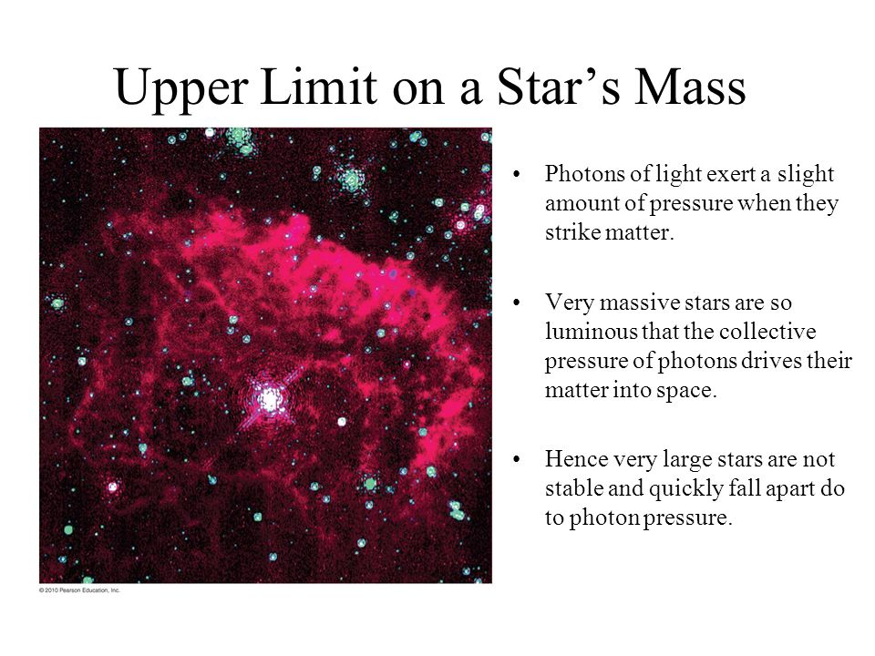 Upper Limit on a Star's Mass Photons of light exert a slight amount of pressure when they strike matter. Very massive stars are so luminous that the c