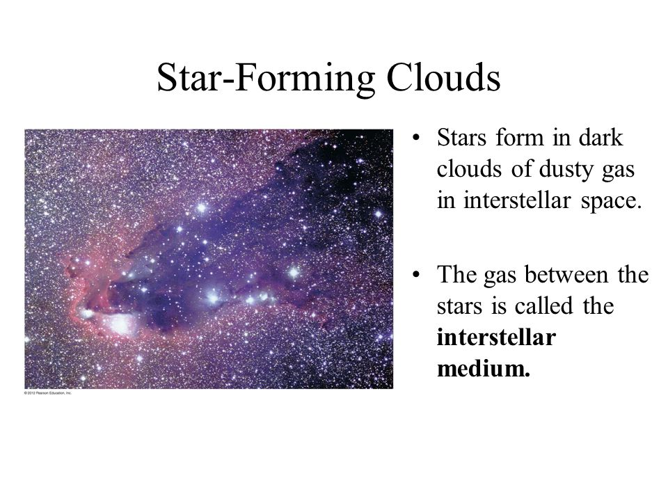 Star-Forming Clouds Stars form in dark clouds of dusty gas in interstellar space.