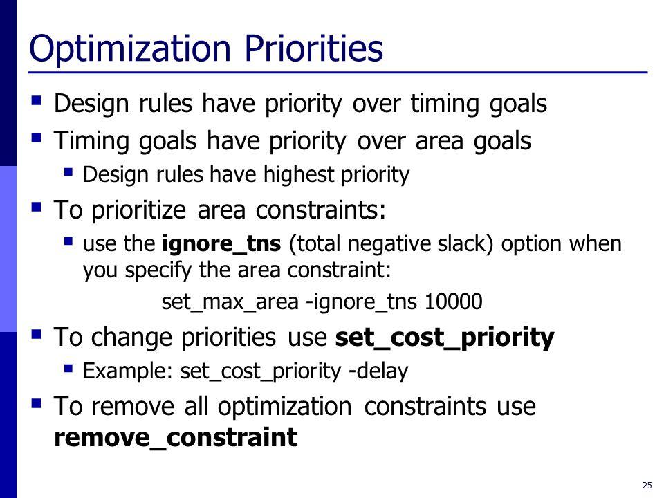 Optimization Priorities  Design rules have priority over timing goals  Timing goals have priority over area goals  Design rules have highest priori