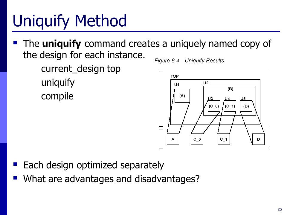 Uniquify Method  The uniquify command creates a uniquely named copy of the design for each instance.