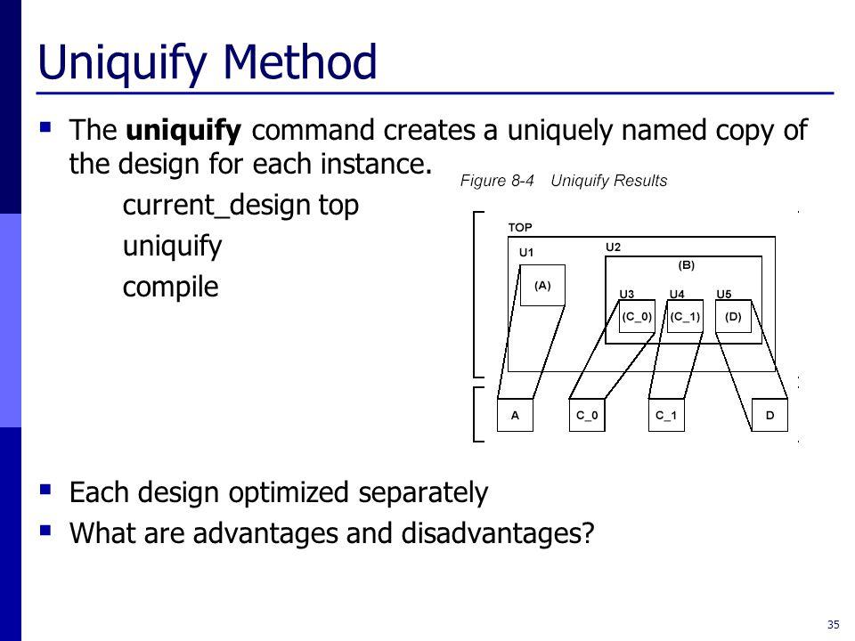 Uniquify Method  The uniquify command creates a uniquely named copy of the design for each instance. current_design top uniquify compile  Each desig
