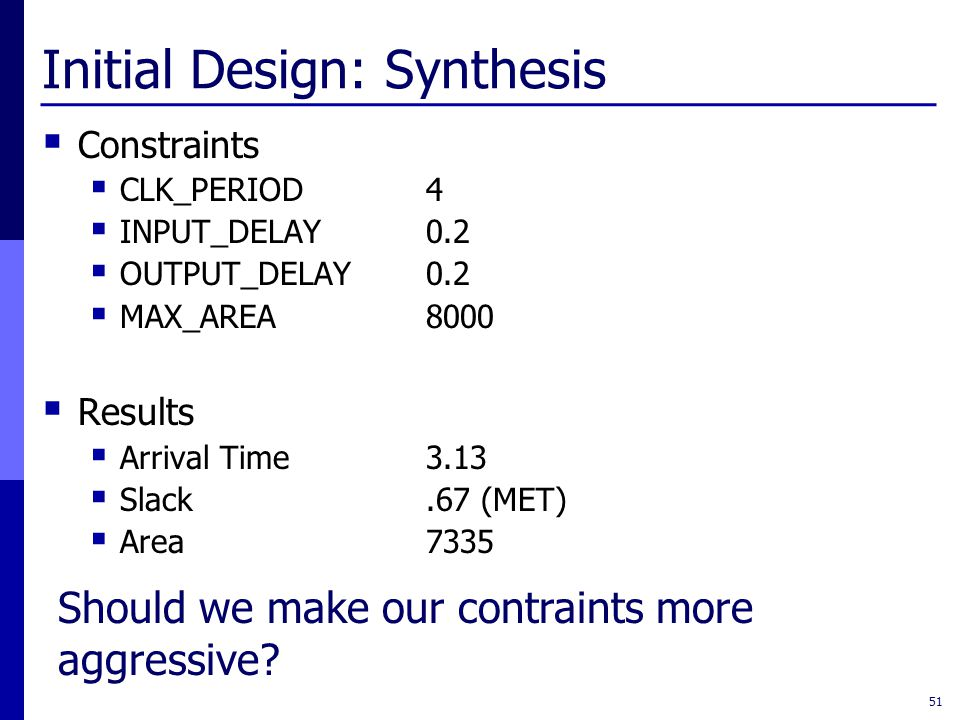 Initial Design: Synthesis  Constraints  CLK_PERIOD4  INPUT_DELAY0.2  OUTPUT_DELAY0.2  MAX_AREA8000  Results  Arrival Time3.13  Slack.67 (MET)  Area7335 51 Should we make our contraints more aggressive?
