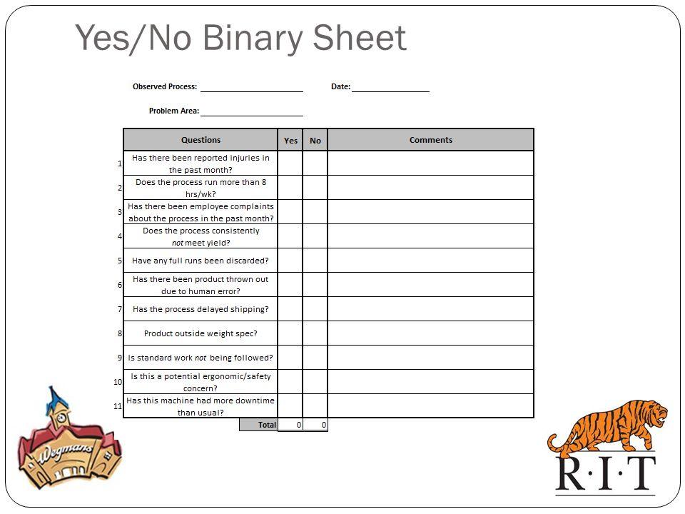 Yes/No Binary Sheet