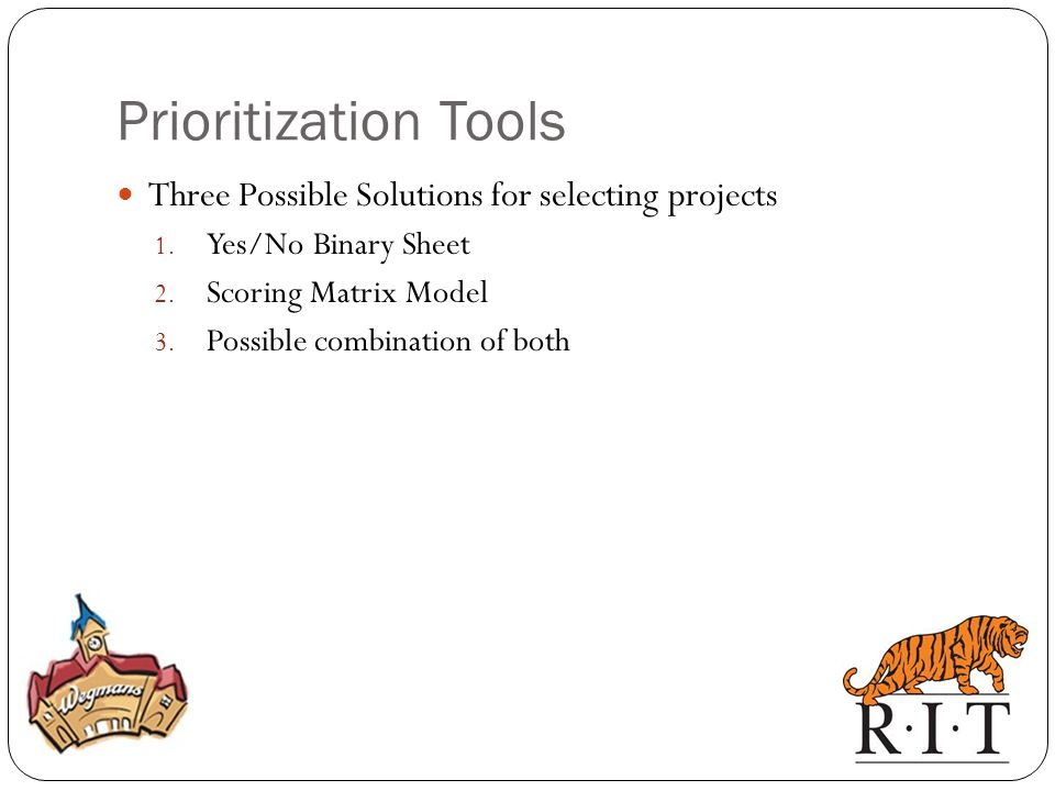 Three Possible Solutions for selecting projects 1.