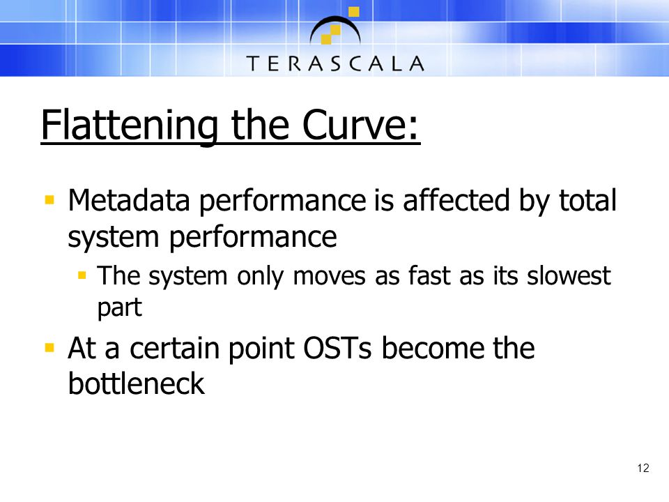 Flattening the Curve:  Metadata performance is affected by total system performance  The system only moves as fast as its slowest part  At a certai