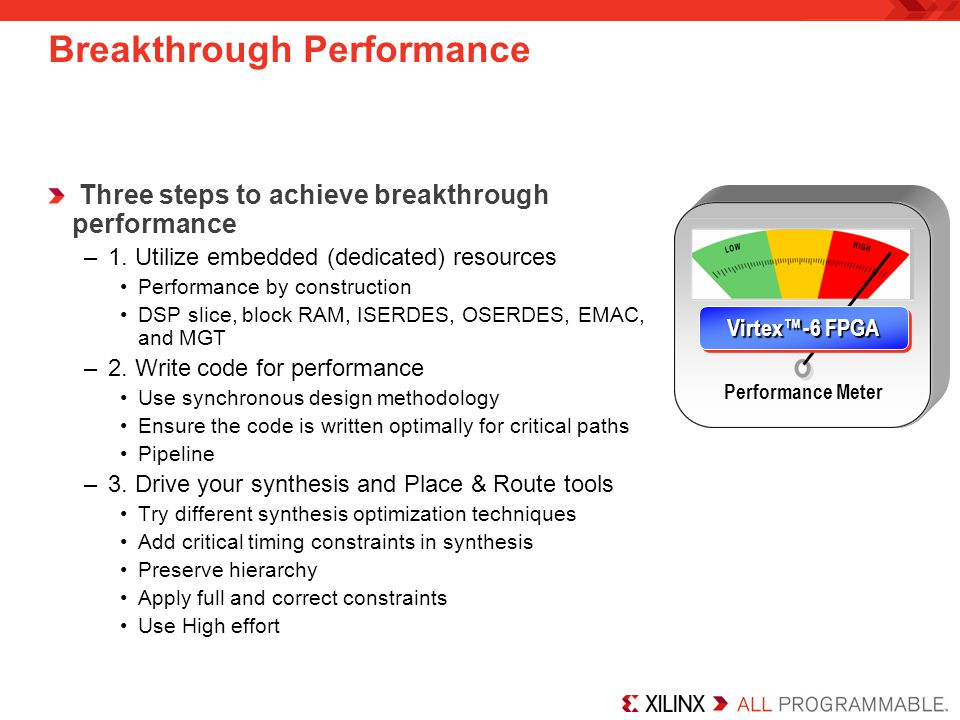 Breakthrough Performance Three steps to achieve breakthrough performance –1.