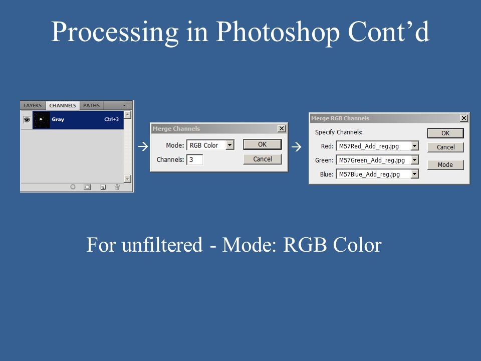 Processing in Photoshop Cont'd For unfiltered - Mode: RGB Color  