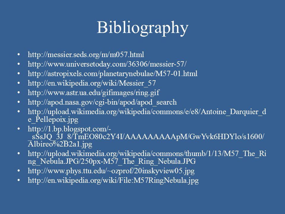 Bibliography http://messier.seds.org/m/m057.html http://www.universetoday.com/36306/messier-57/ http://astropixels.com/planetarynebulae/M57-01.html ht