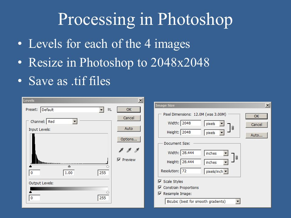 Processing in Photoshop Levels for each of the 4 images Resize in Photoshop to 2048x2048 Save as.tif files