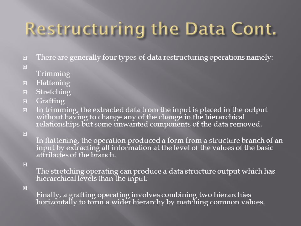  Data structure analysis includes making sure that all the components of the data structures are closely related, that closely related data are not in separate structures, and that the best type of data structure is being used.