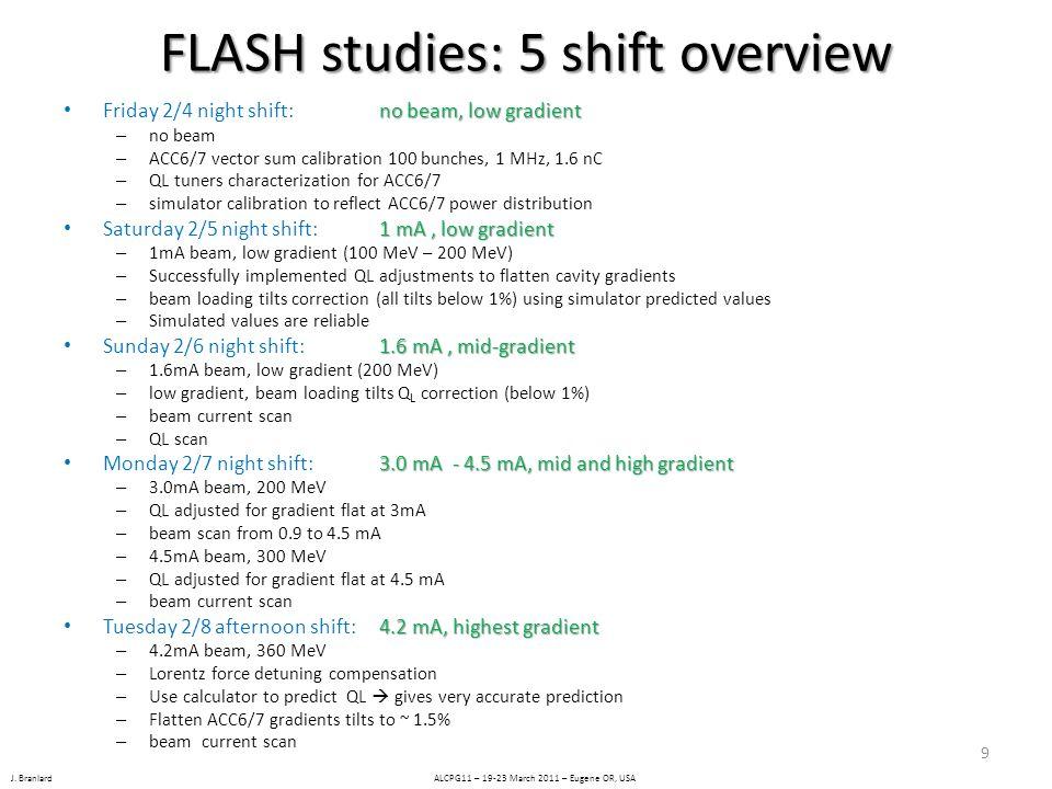 J. Branlard ALCPG11 – 19-23 March 2011 – Eugene OR, USA FLASH studies: 5 shift overview no beam, low gradient Friday 2/4 night shift: no beam, low gra