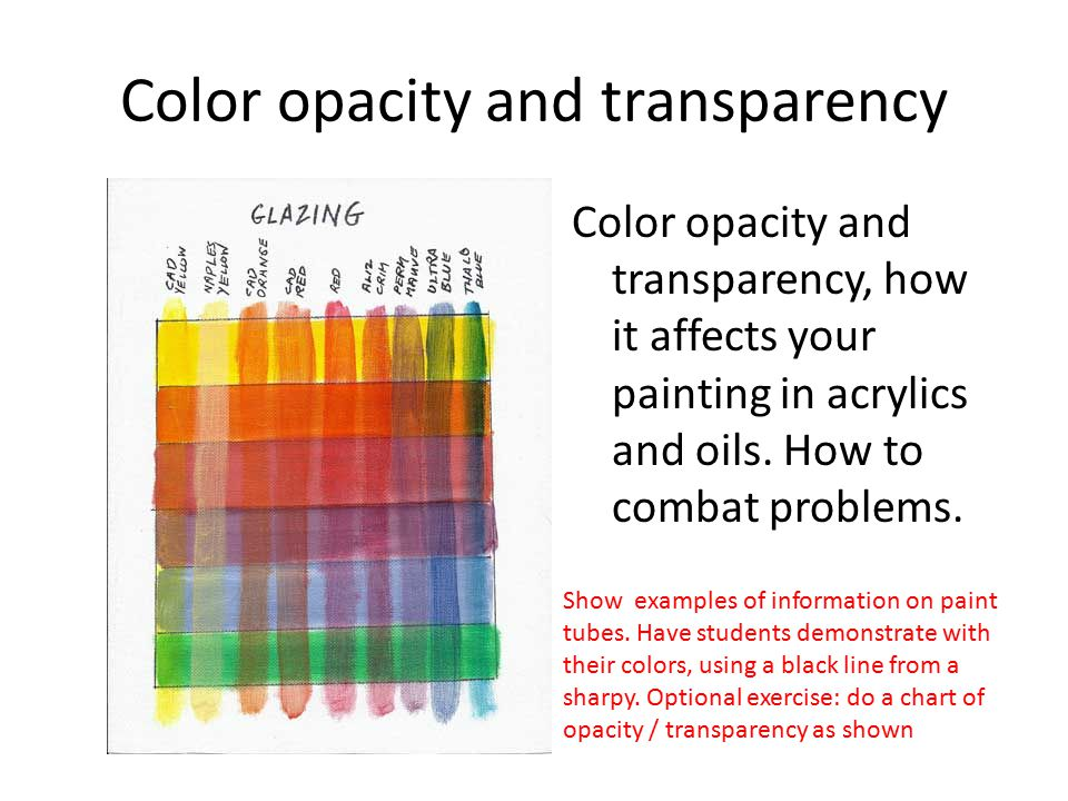 Color opacity and transparency Color opacity and transparency, how it affects your painting in acrylics and oils.