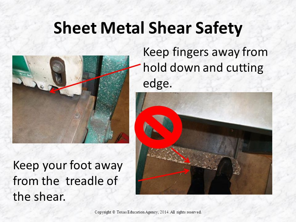 Sheet Metal Shear Safety Copyright © Texas Education Agency, 2014.