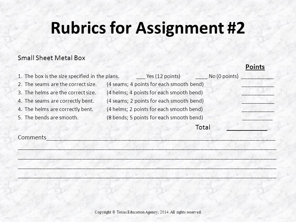 Rubrics for Assignment #2 Copyright © Texas Education Agency, 2014.