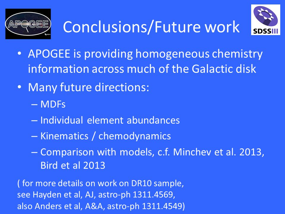 Conclusions/Future work APOGEE is providing homogeneous chemistry information across much of the Galactic disk Many future directions: – MDFs – Individual element abundances – Kinematics / chemodynamics – Comparison with models, c.f.