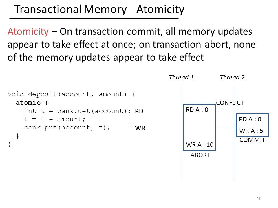 Transactional Memory - Atomicity Atomicity – On transaction commit, all memory updates appear to take effect at once; on transaction abort, none of the memory updates appear to take effect 10 void deposit(account, amount) { atomic { int t = bank.get(account); t = t + amount; bank.put(account, t); } Thread 1Thread 2 RD A : 0 RD WR RD A : 0 WR A : 10 WR A : 5 COMMIT ABORT CONFLICT