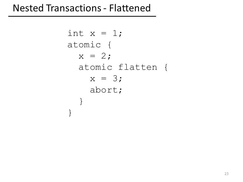 Nested Transactions - Flattened 23 int x = 1; atomic { x = 2; atomic flatten { x = 3; abort; }