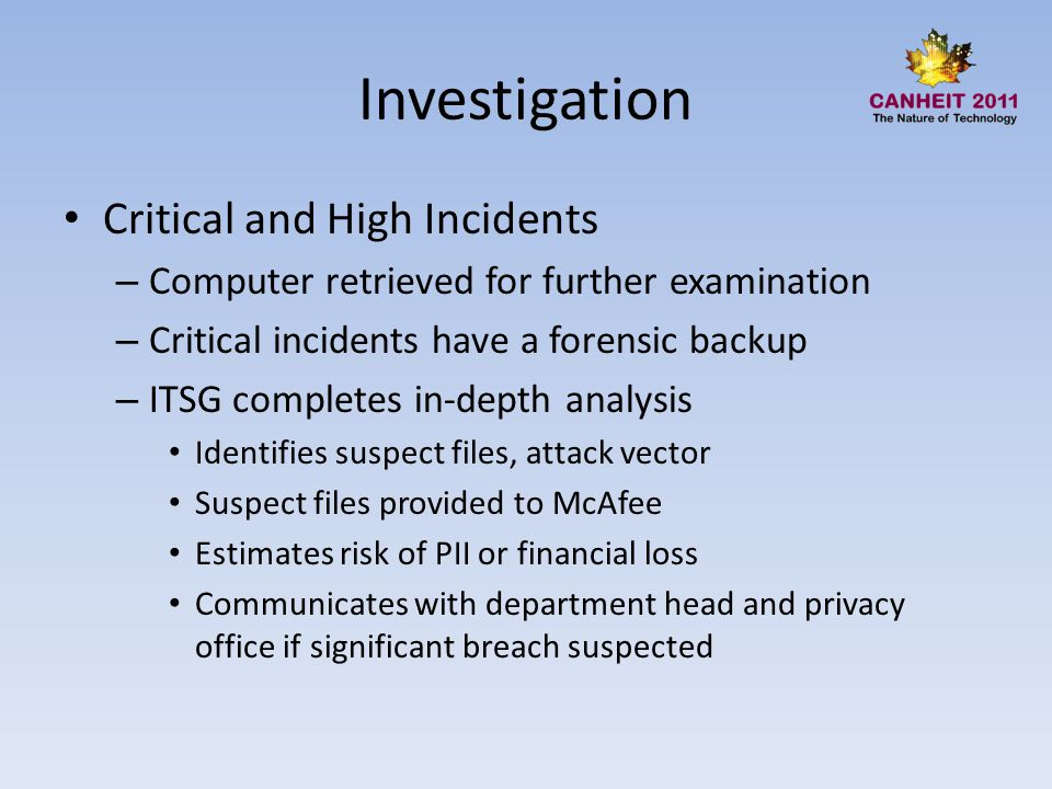 Investigation Critical and High Incidents – Computer retrieved for further examination – Critical incidents have a forensic backup – ITSG completes in