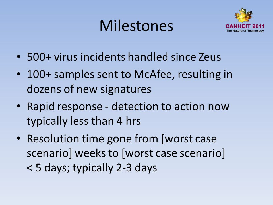 Milestones 500+ virus incidents handled since Zeus 100+ samples sent to McAfee, resulting in dozens of new signatures Rapid response - detection to action now typically less than 4 hrs Resolution time gone from [worst case scenario] weeks to [worst case scenario] < 5 days; typically 2-3 days
