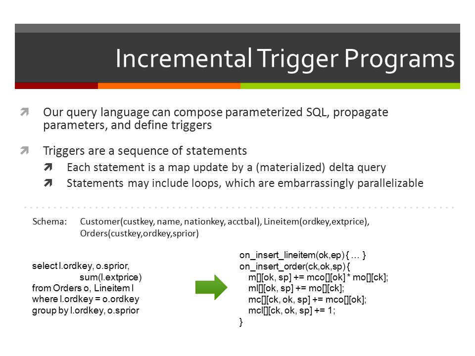 Incremental Trigger Programs  Our query language can compose parameterized SQL, propagate parameters, and define triggers  Triggers are a sequence of statements  Each statement is a map update by a (materialized) delta query  Statements may include loops, which are embarrassingly parallelizable select l.ordkey, o.sprior, sum(l.extprice) from Orders o, Lineitem l where l.ordkey = o.ordkey group by l.ordkey, o.sprior on_insert_lineitem(ok,ep) { … } on_insert_order(ck,ok,sp) { m[][ok, sp] += mco[][ok] * mo[][ck]; ml[][ok, sp] += mo[][ck]; mc[][ck, ok, sp] += mco[][ok]; mcl[][ck, ok, sp] += 1; } Schema: Customer(custkey, name, nationkey, acctbal), Lineitem(ordkey,extprice), Orders(custkey,ordkey,sprior)