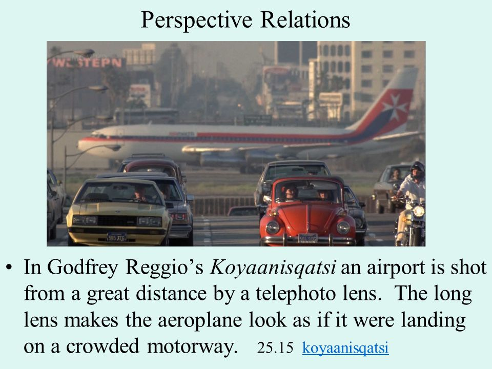 Perspective Relations In Godfrey Reggio's Koyaanisqatsi an airport is shot from a great distance by a telephoto lens.