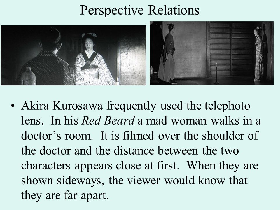 Perspective Relations Akira Kurosawa frequently used the telephoto lens.