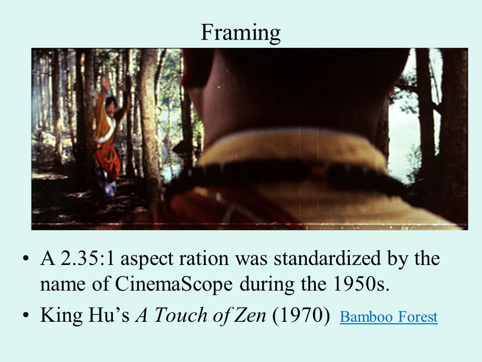Framing A 2.35:1 aspect ration was standardized by the name of CinemaScope during the 1950s.